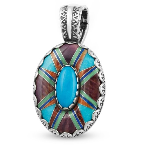 Southwest Spirit Sterling Silver Turquoise Multi-Gemstone Channel Inlay Pendant Enhancer