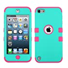 MyTurtle(TM) iPod touch 5 (5th generation) Heavy Duty Defender Tuff Hybrid Hard Case With Kickstand Case + [FREE Touch Screen Stylus] + [FREE Screen Protector] (TUFF case  Rubberized Teal Green/Electric Pink)