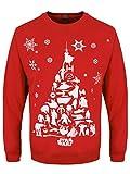 Star Wars Herren Weihnachts-Pullover Charakter-Baum rot. Offiziell lizenziert