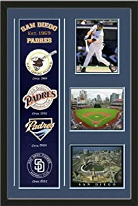 MLB San Diego Padres Banner With Logos-Tony Gwynn - 1999 Bating Action photo, Petco... by Art and More, Davenport, IA