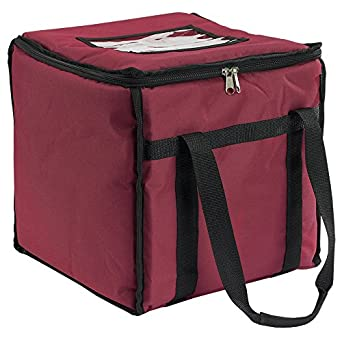 "San Jamar FC1212-MRN Insulated Food/Pizza Carrier, Medium, 12"" Width x 12"" Height x 12"" Depth"