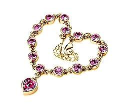 Sorellaz Pink Heart Golden Royal Rhinestone Bracelet