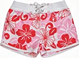 Snapper Rock Raspberry Tropical UV-Protective Girls Board Short - White/Pink, 6 Years