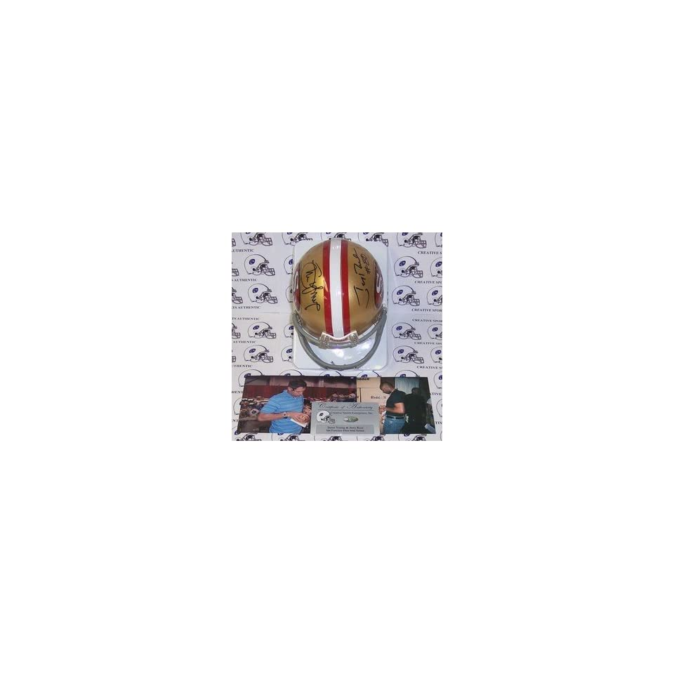 Jerry Rice & Steve Young Autographed 49ers Riddell Mini Helmet