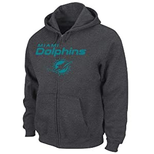 Miami Dolphins Majestic NFL Touchback IV Full Zip Hooded Sweatshirt - Charcoal by VF