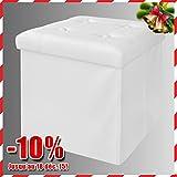 SoBuy FSS16-K-W Tabouret /Pouf cube coffre de rangement Multifonction (38x38x38cm, Blanc)