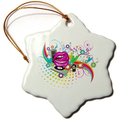 Orn_104517_1 Dooni Designs Music Designs - Colorful Retro Headphones Vector Design - Ornaments - 3 Inch Snowflake Porcelain Ornament