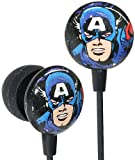 iHip MVF1030CA Marvel Vintage Series Printed Ear Buds, Captain America Red/White/Blue