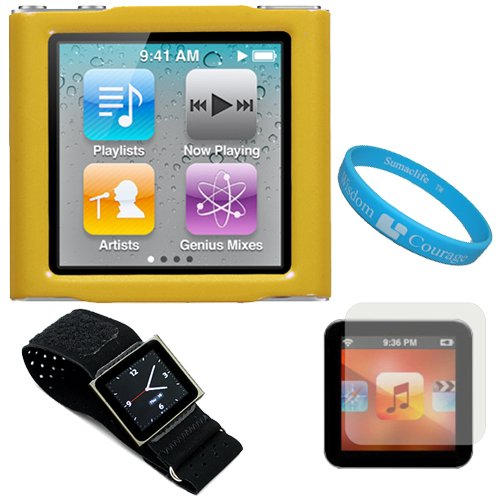 Yellow Hard Shell Protective Snap On Cover Case for Apple iPod Nano Touch