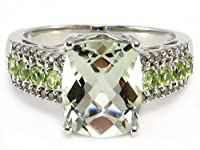 Checker Green Amethyst & Peridot Diamond Ring 10k white gold from Donna T