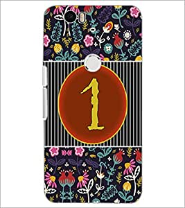 PrintDhaba Numerology Number 1 D-3087 Back Case Cover for HUAWEI NEXUS 6P (Multi-Coloured)