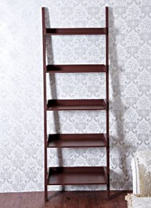 """HomCom 72"""" 5-Tier Leaning Ladder Wooden Bookcase - Brown"""