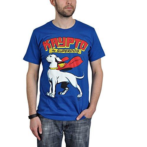 Superdog - Retro T-Shirt con Krypto il Supercane tratto dai fumetti di Superman - Con licenza - Blu - M