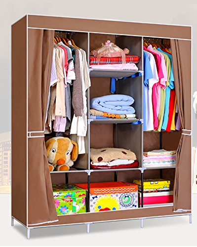 Everything Imported 4.1 feet (coffee curtain) Folding Wardrobe Cupboard Almirah Foldable Storage Rack Collapsible Cabinet
