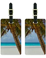 Tropical Palm Tree Ocean Beach Luggage Tags Suitcase Carry-On ID Set of 2