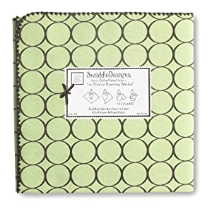SwaddleDesigns Ultimate Receiving Blanket, Brown Mod Circles, Lime