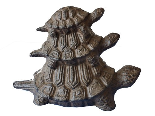 "Rustic Cast Iron Turtle Family Doorstop 8"" - Sea Turtle Party Decoration - Nautical Themed Nursery - Nautical Theme Bedroom"