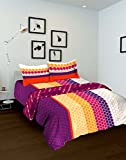 Tomatillo Nature Pure Cotton Double Comforter - Geometric , Purle and Pink