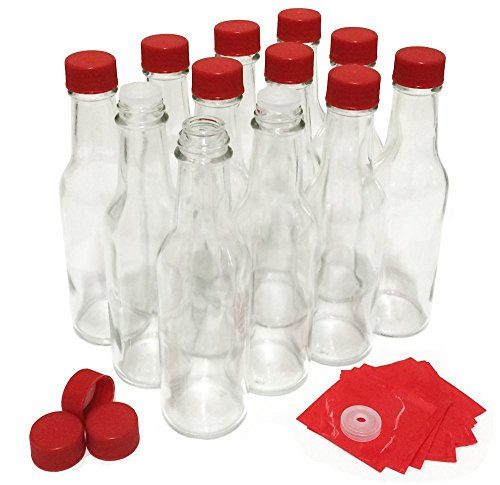 Hot Sauce Bottles with Red Caps & Shrink Bands, 5 Oz - Case of 12 (Hot Sauce Glass Bottles compare prices)