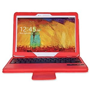 MoKo Samsung Galaxy Note 10.1 2014 Edition Case - Wireless Bluetooth Keyboard Cover Case for Note 10.1 Inch 2014 Edition Tablet, RED