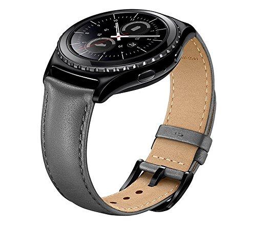 Samsung Gear S2 Classic Watch Band, FOTOWELT Vera Pelle Cinghia Del Cinturino Di Ricambio Per Ingranaggi S2 Classic Smartwatch, FIT Per SM-R732 / R7320-Grigio