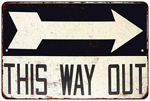 This Way Out Arrow Vintage Look Reproduction Metal Sign 8x12 8123725