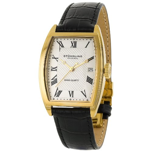 Stuhrling Original Women's 242.12352 Classic Metropolis Park Avenue Swiss Quartz Gold Tone Black Leather Strap Watch