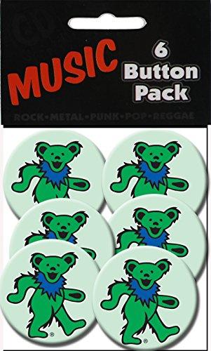 """C&D Visionary Grateful Dead Green Bear 1.25"""" Button (6-Piece)"""