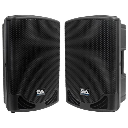 """Seismic Audio - Mainshock-12-Pair - Pair Of Powered 2-Way 12"""" Pa / Dj Molded Speaker Cabinets With Titanium Horns"""