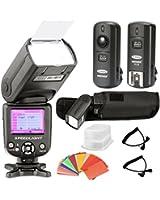 Neewer® *Ecran-coloré* E-TTL Camera Flash Kit pour Canon EOS 700D/T5i 650D/T4i 600D/T3i 1100D/T3 550D/T2i 500D/T1i 100D/SL1 400D/XTi 450D/XSi 300D/Digital Rebel 20D 30D 60D 5D Mark III 3 II 2 et Tous les Canon Reflex Numérique inclus (1) Neewer NW-985C Flash Esclave avec Diffuseur, (1) 3-in-1 2.4Ghz 16 Canaux Déclencheur de Flash Sans Fils, (1) 35-Couleur Ensemble de Gel Filtre, (1)étui de flash de luxe, (2)Câbles(C1-cordon + C3-cordon)