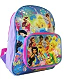 Disney Tinker Bell Backpack W/ Lunch Bag (2 pcs Set) - Full Size Fairies & Ti...