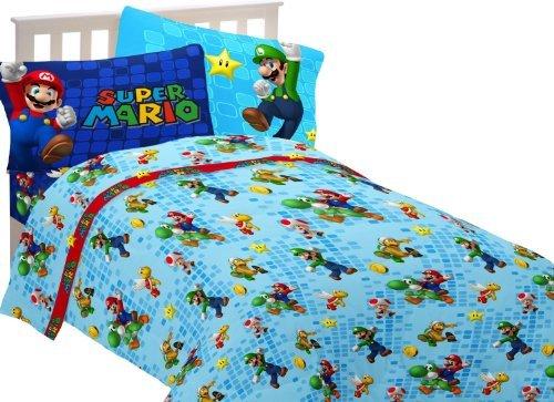 Super Mario Fresh Look Twin Bedding Sheet Set Nintendo