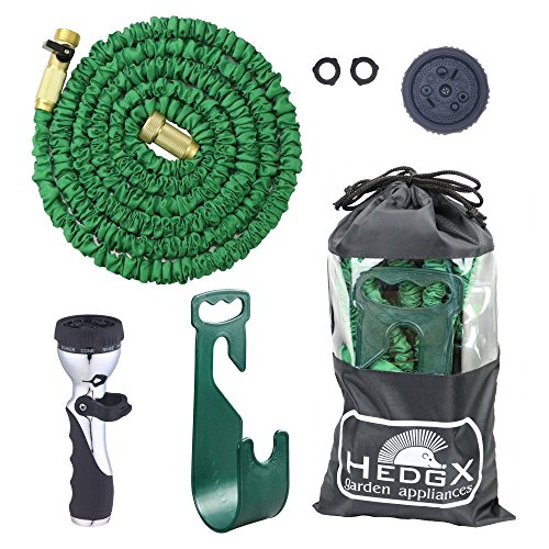HedgX Expandable Water Hose 50ft - Best Auto Expanding & Contracting, as Seen on TV. Incredible Deluxe Garden Set: 9-Way Nozzle, Holder, Heavy Duty Top Brass Fittings, Metal Valve, 2 Washers and Bag! (Pressure Washer Hose 75ft compare prices)