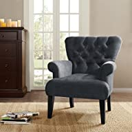 Madison Park Valerie Button Tufted Classic Arm Chair – Charcoal – See below