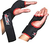 Foam padded inner glove with wrist wrap -blk/red medium