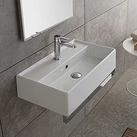 13 Inch White Ceramic Bathroom Sink, Three Hole