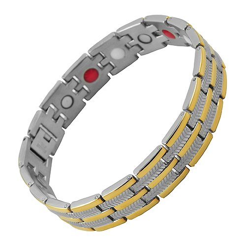 Beautiful Stainless Steel Link Magnetic Bracelet with Gold PVD (8.5 IN)
