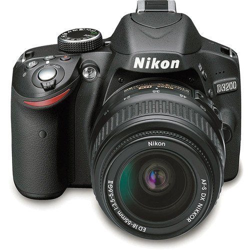 Nikon D3200 24.2 MP CMOS Digital SLR Camera with NIKKOR 18-55mm ED II Lens (Black) (International Model no Warranty)