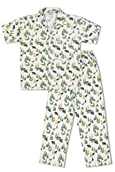 GreenApple Boys Organic Cotton Forest Print Pyjama Set (FVGA062, Green, 2-3 Years)