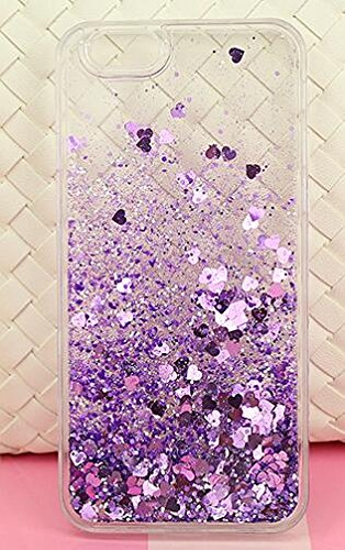 iPhone 6/6S Case,Blingy's® New Cool Flowing Liquid Glitter Style Plastic Hard Case for Apple iPhone 6/6S (Hearts with Purple Glitter)