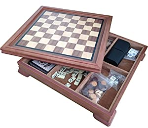 "14"" Deluxe 5 In 1 Wood Chess Checker Backgammon Board Game Set Storage Box, 1203"