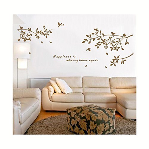 Tree Branch With Birds Wall Decals Sticker Nursery Decor Art Mural-Coffee