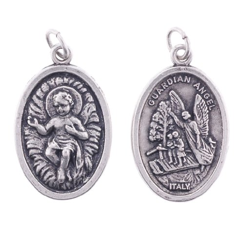Baby Jesus - Guardian Angel - Two-Sided Oxidized Medal - Height: 7/8