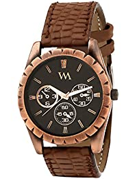 WATCH ME Brown Leather Black Dial Watch For Men Brown Leather Black Dial Watch For Men Watch MeAL-182