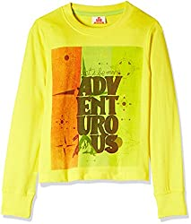UFO Boys' T-Shirt (AW-16-KF-BKT-215_Yellow_8 - 9 years)