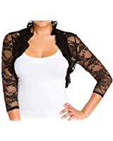 eVogues Plus Size Sheer Lace Bolero Shrug Black