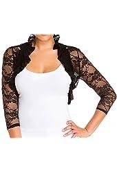 eVogues Plus Size Sheer Lace Bolero Shrug Black