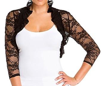 eVogues Plus Size Sheer Lace Bolero Shrug Black - 1X