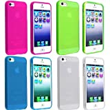 Vandot 4X Cases Accessories Set Soft Silicone TPU Gel Case Cover Cover Back Colorful Case Protector for Apple iPhone 4 4G 4S Bumper Case Hybrid Silicone cup mat back cover Transparent Shell - Navy Blue, Hot Pink Pink, Green Green Turquoise, Clear White C