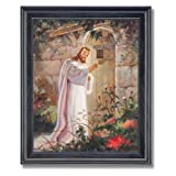 Jesus Knocking On Your Door Religious Home Decor Wall Picture Black Framed Art Print